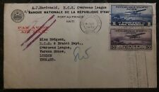 1932 Port Prince Haiti NAtional Bank Airmail Cover To London England