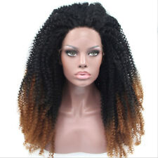 Kinky Curly Lace Front Wig Synthetic Ombre Brown Free Part Jerry Curly Party