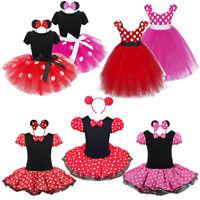 Kid Girl Minnie Mouse Cosplay Fancy Costume Party Ballet Dance Dress w/ Ear Head
