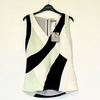 Jigsaw A - Evelyn Mixed Silk Top, Mint Green, White, Black Size 8 RRP £250