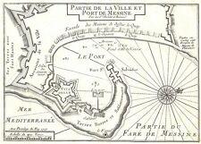 Antique map, Partie de la Ville et Port de Messine