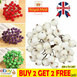 40 Head Artificial Frosted Holly Berry Flowers Fruit Home Wedding Party Decorsa