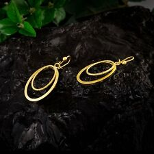 FIN003-Fashion Yellow Gold Filled Drop Earrings 2 Oval Dangle Free Shipping