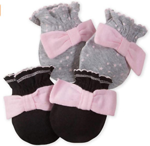 Gerber Baby Girl 2 Pack Mittens with Bow (0-3 Months)