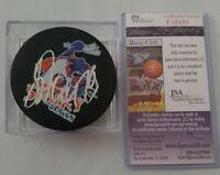 JSA COA ALEXEI YASHIN SIGNED NHL PUCK RARE SPARKY THE DRAGON ISLES MASCOT geico