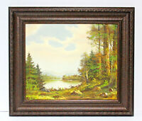 Country Lake Landscape 20 x 24 Art Oil Painting on Canvas w/ Carved Wood Frame