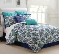 8 Piece Alegro Navy/Spa Blue/Citron Comforter Set