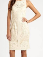 SUE WONG SIZE 12 NOCTURNE BEIGE TAN TULLE DRESS PARTY EMBROIDERED MOTHER BRIDE