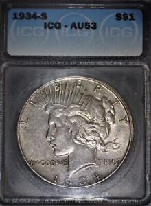 1934 -S Peace Silver Dollar ICG AU53,Key Date, Nice original Patina,Issue Free
