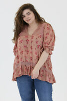 New Angie Top 2X Pink Floral Boho Peasant Crochet Plus Size Cottagecore