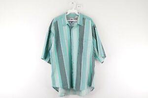 Vtg 80s Streetwear Mens XL Distressed Double Pocket Striped Button Shirt Green