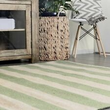 KOCHI NATURAL STRIPES GREEN JUTE FIBRE FLOOR RUG (XL) 240x340cm **FREE DELIVERY*
