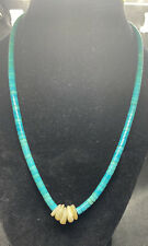"""Vintage Native American Sterling Turquoise Necklace 19"""""""