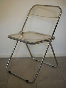 VintageInterlübke Klappstühle 70iger Jahre Lehne weiss Sitz Chromgestell