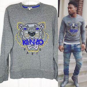 KENZO Paris Gray Blue Tiger Embroidered Sweatshirt Stefon Diggs Men Small