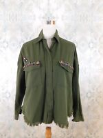 NWT Anthropologie Beautiful Stories Green Button Down Embellished Shirt XS