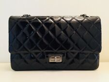 AUTHENTIC CHANEL 2.55 Reissue size 227 Black Patent Leather
