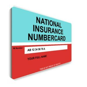 National Insurance NI Number Printed on Strong PVC Cards of size 86x54mm