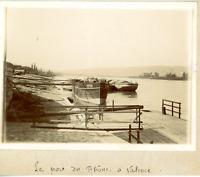 France, Valence, port du Rhône Vintage albumen print Tirage albuminé  8x11