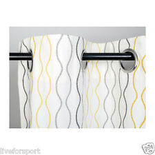 "Ikea Henny Rand Curtains 1 Pair White Gray Yellow 57x118"" 100% Cotton 2 Panels"