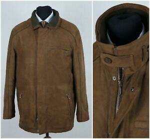 LAPIDUS Mens Size XL UK 44 Brown Zip Padded Faux Suede Leather Coat Jacket