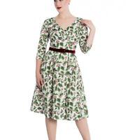 White Holly Berry Dress XS UK 8 Hellbunny UK Seller