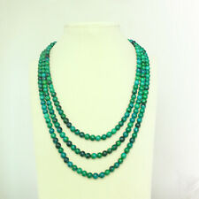 3 Strands Genuine Natural Chrysocolla Necklace Dia. 6mm