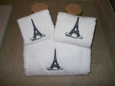 Eiffel Tower Towel -Embroidered Bath Towels- Paris  -3 Pice Bath towel set