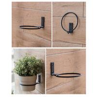 3pcs Wall Mounted Black Outdoor Ring Shape Anti Rust Iron Tray Flower Pot Rack