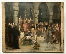 Tableau religieux ancien signé et daté 1893, Huile sur toile, Messe noire, XIXe