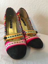 MARCELLO TOSHI MARY JANE Multi Color Peruvian Holiday Festive Colors Heels Sz 7