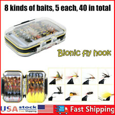40pcs/Box Trout Fly Fishing Lure Dry Wet Flies Nymphs Fish Artificial Bait