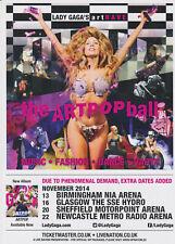 2 X LADY GAGA 2014  UK CONCERT TOUR FLYERS ARTPOP TOUR  COLLECTORS ITEM