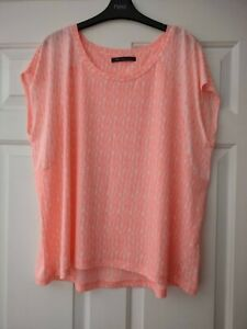 NEW M&S COLLECTION PLUS SIZE 20/22 CORAL PATTERN T-SHIRT TOP ACTIVE WORKOUT GYM