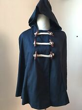 ASOS Navy Cotton Cape Nautical Toggles Hooded Capelet Coat Lined Sz 4 US