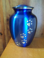 """Gorgeous Vibrant Blue w/Pewter Paw Prints Brass Pet Urn~~8""""~up to 115 Lbs"""