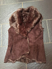 OASIS BROWN SUEDE FAUX FUR LINED & COLLAR REVERSIBLE BODYWARMER GILLET SIZE 8