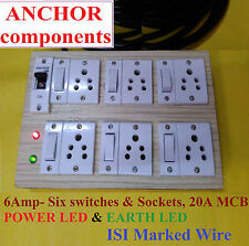 Wooden Extn 6 sket 6 switch, Earth Led MCB Protection ,4 meter ISI 1.5 mm wire