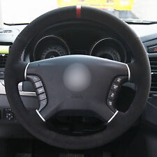 Black Suede Red Marker Car Steering Wheel Cover for Mitsubishi Pajero 2007-2014