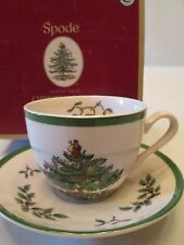 SPODE CHRISTMAS TREE  CUP AND SAUCER, 7 OZ.   New In Box