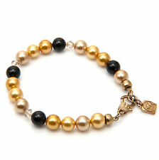 SALE Multicolour South Sea Shell Pearls Bracelet Gold Plated Single Strand NEW