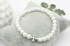 Perlenarmband Kreuz Farbe silber, Perlen viele Farben erhältlich, Kommunion