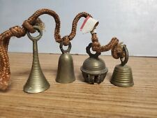 Vintage Ornate Antique Lot of 4 Etched Brass Bells Stamped India Beautiful