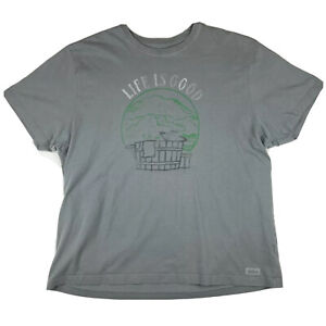 Life Is Good Planet Earth T Shirt Mens Size XXL Grey Short Sleeve Jacuzzi