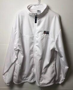 Vtg Team USA Jacket  2XL White Full Zip Long Sleeve Hoodie Coat 80's 90's Sport
