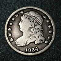 1834 USA Early Capped Bust Large 4 Dime 10C Ten Cent Early Dime Silver Coin