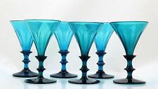 6x antique early 19th C turquoise crystal White Wine Glass, 1800-1840 Holland