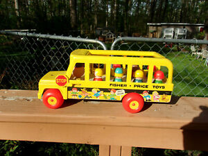 Vintage Fisher Price School Bus with 7 Little People