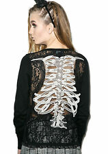 B22 Too Fast Black Ribcage Spine Punk Rock Gothic Skulls Button up Cardy - Large