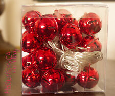 Red Jingle Bells LED Christmas Lights String of 20 on/off timer Battery Operated